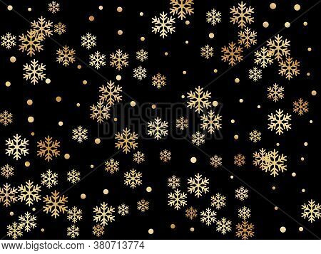 Crystal Snowflake And Circle Shapes Vector Illustration. Macro Winter Snow Confetti Scatter Card Bac
