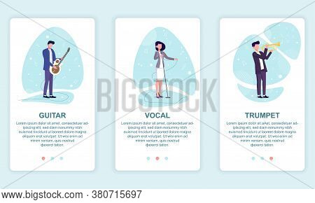 Vector Illustration Of Music Band. Set Of Musicians Playing On Guitar, Trumpet And Vocalist Singing