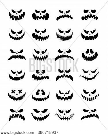 Scary Silhouettes Of Pumpkin Faces Set. Halloween. Vector Illustration. Cartoon Style. Isolated On A