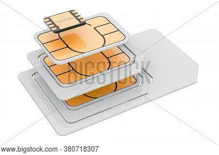 Esim, Nano, Micro And Mini Sim Cards, 3d Rendering Isolated On White Background