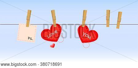 Illustration valentines day Clothesline love, Ps I love you. Romance soft. Cuple