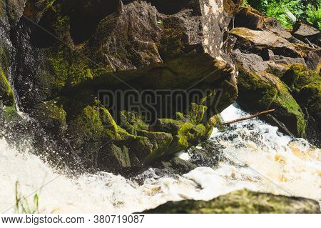 Mountain River. Waterfall In Dense Forest. Woodland Creek. Water Flow With Splashes. Rocky Watercour
