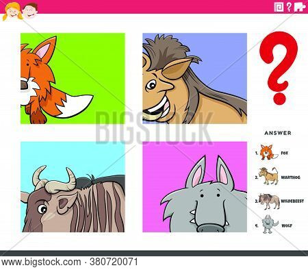 Cartoon Illustration Of Educational Game Of Guessing Animal Species Worksheet Or Application For Chi