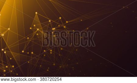Abstract Orange Polygon Tech Network With Connect Technology Background. Abstract Dots And Lines Tex