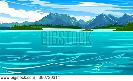 Ocean View Of The Waterline. Seashore With Mountains, Jungles And Beaches. Horizon. Blue Water Surfa