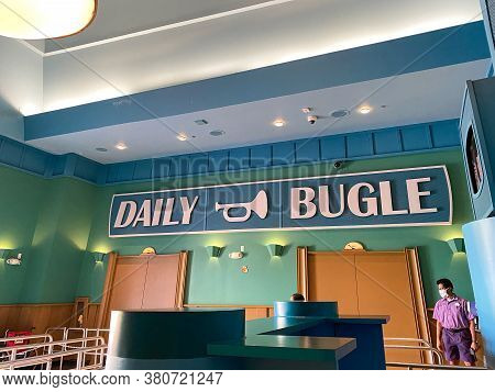 Orlando,fl/usa- 6/13/20: The Daily Bugle Sign In The Lobby Of The Spiderman Ride At Universal Studio