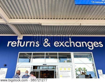 Orlando,fl/usa- 6/10/20: The Exterior View Of The Returns And Exchanges Sign At An Ikea Furniture St