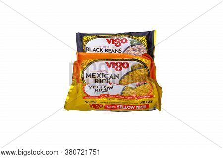 Three Bags Of Assorted Vigo Rice Mix Isolated On White For Illustrative Editorial