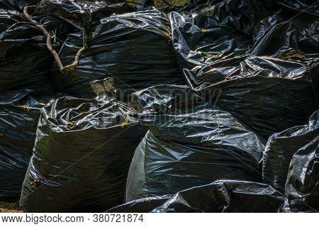 Many Bag Plastic Stack Of Garbage Waste, Garbage Plastic Bag Black, Bag Black Color Is Bin For Garba