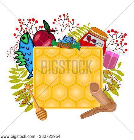 Apple Honey, Shofar, Jam, Fish, Glass, Dipper, Floral Frame. Happy Jewish New Year. Shana Tova. Card