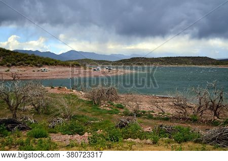 Campers At Roosevelt Lake In Central Arizona