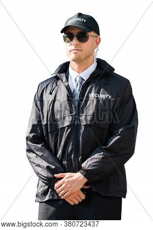 Security Guard Or Bodyguard. Uniformed Male Standing