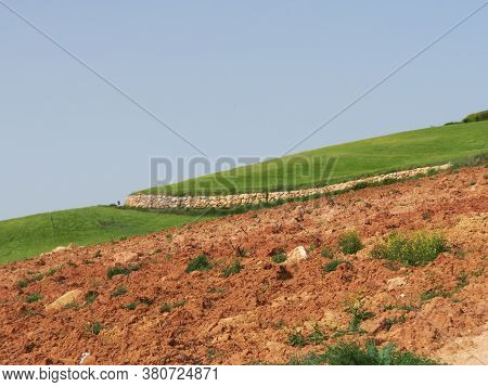 Agricultural Landscape With Green Fields And Arable Land In Sunny Summer Day, Navarra, Spain