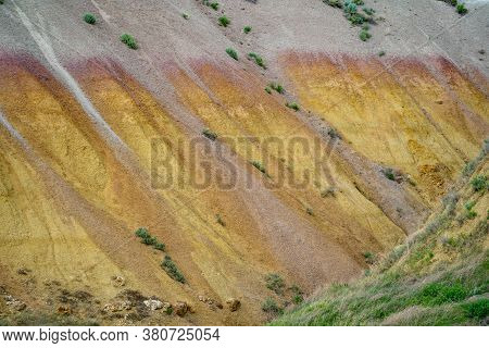 Colorful Yellow Mounds Overlook In Badlands National Park South Dakota