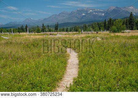 Trailhead For The Transboundary Flathead River Interpretive Trail In Polebridge Montana, In Glacier