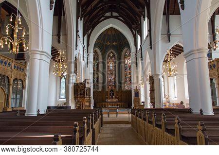 Gothenburg, Sweden - June 18 2019: Interior View Of Haga Church On June 18 2019 In Gothenburg, Swede