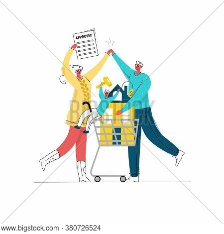 Vector Flat Illustration Young Happy Family With Child Who Received Approval For Mortgage. They Carr