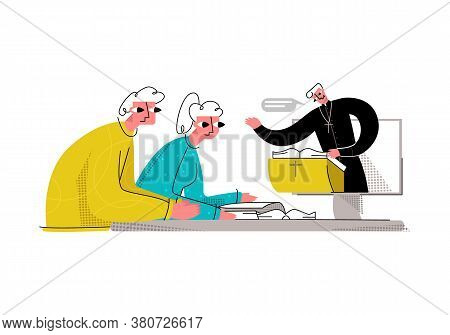 Vector Flat Young Married Couple Who Listen To Interpretation And Reading Of The Bible, Sermons By P