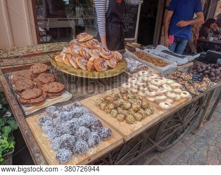 Gothenburg, Sweden - June 18 2019: The View Of Shops In The Old Haga District On June 18 2019 In Got