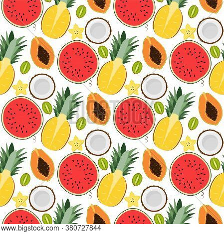 Tropical Pattern With Pineapple, Watermelon, Coconut, Kiwi, Carambola. Seamless Vector Patterns
