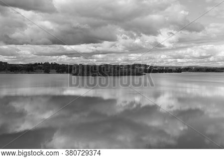 View Of Canberra City From Across Lake Burley Griffin. Overcast Day, And In Black And White.