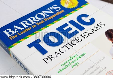 Nakhon Ratchasima, Thailand- August 9, 2020: Barron's Toeic Book On White Table In Classroom