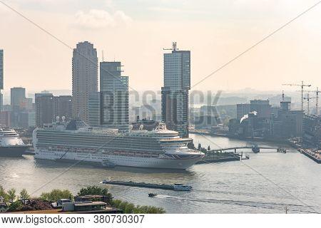 Rotterdam, Netherlands - April 29, 2019 : Ms Azura Cruise Ship From P And O Cruises Company Stationn