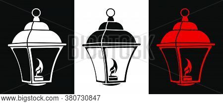 Street Light Icon With Burning Candles Inside. Vintage Style. Night Romance Of Big City. Street Ligh