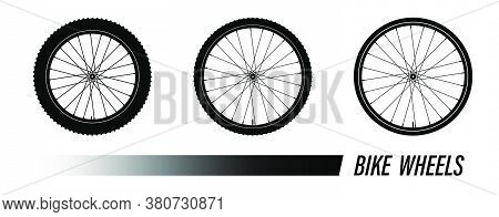 Bicycle Wheel Symbol With Different Tread. Bike Rubber Mountain Tyre, Valve. Active Kinds Of Extreme