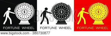 Stick Figure, Player Spins The Wheel Of Fortune With A Dollar Sign In The Center. Luck, Casino And G