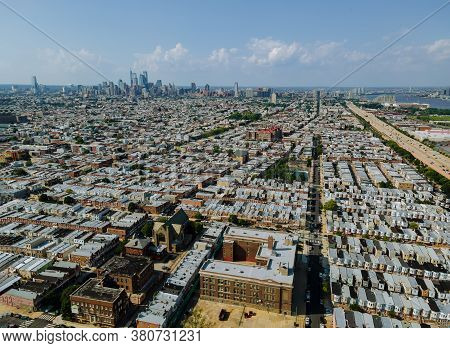 Panoramic View Of Neighborhood In Roofs And Streets Of Philadelphia Pa Usa