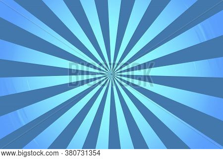 Vector Blue Rays Background. Bright Abstract Radial Burst. Rays Texture. Blue Sunbeams.