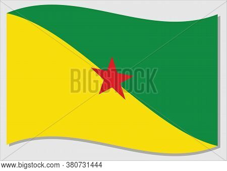 Waving Flag Of French Guiana Vector Graphic. Waving Guyanese Flag Illustration. French Guiana Countr
