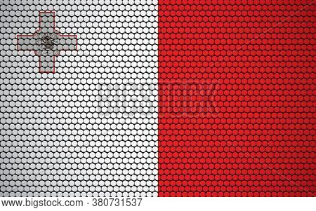 Abstract Flag Of Malta Made Of Circles. Maltese Flag Designed With Colored Dots Giving It A Modern A