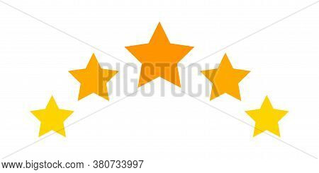 5 Stars Icon Cute Isolated On White, 5 Star Shape Yellow Orange