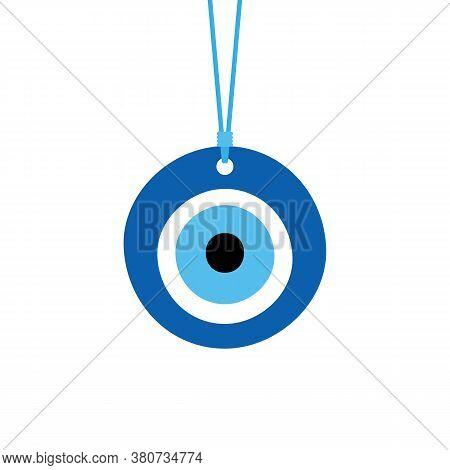 Nazar Amulet, Evil Eye Protection Talisman. Turkish Blue Eye-shaped Amulet On A Rope, String.