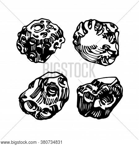 Set Of Meteor Ore Or Stones, Cosmic Celestial Body, Iron Meteorite, Vector Illustration With Black I