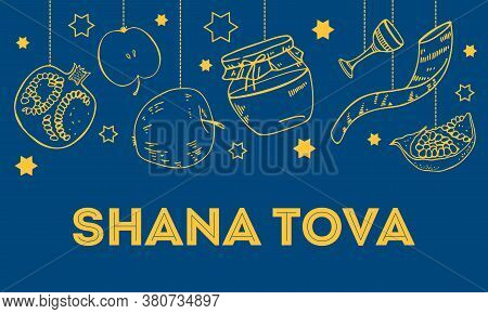 Jewish New Year Rosh Hashanah Design Template With Traditional Objects Hanging On The Top Of The Pag