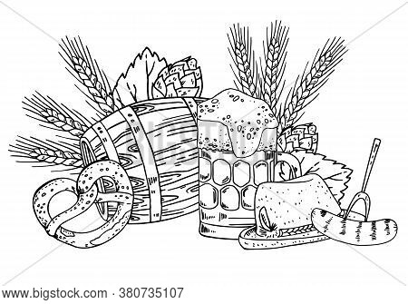 Oktoberfest Composition. Beer Mug, Food, Hat And Cask With Hop And Wheat Plants On The Background. H