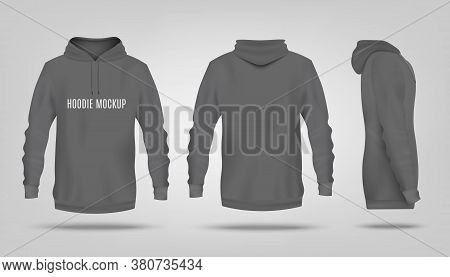 Realistic Grey Hoodie Mockup With Text Template From Front, Back And Side View