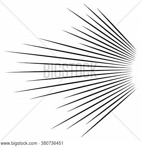 3d Abstract Lines. Dynamic Straight Burst Lines In Perspective. Radial, Radiating Stripes. Rapid Ray