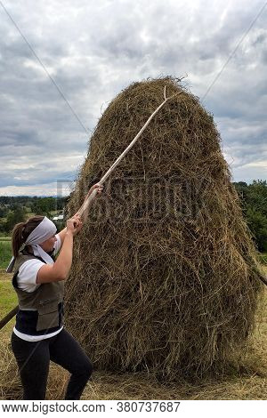 Carpathian Fields, Harvesting Hay For The Winter, Women In The Field, The Process Of Harvesting Hay