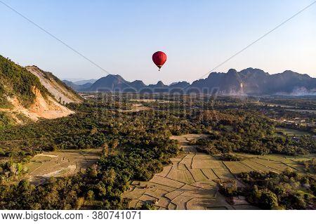 Hot Air Balloons Over Karst Hills Along Nam Song Xong River, Vang Vieng, Laos