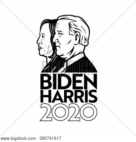 Aug 14, 2020, Auckland, New Zealand: Illustration Of American President And Vice President Candidate