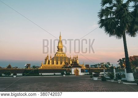 Pha That Luang Is A Gold-covered Large Buddhist Stupa And Be The Most Important National Monument In