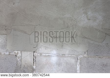 The Wall That Has Just Been Plastered For Half At Construction Site.