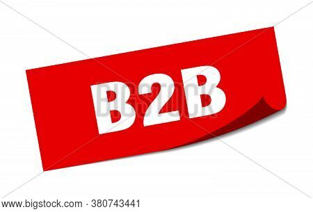 B2b Sticker. Square Sign. Red Isolated Peeler On White Background