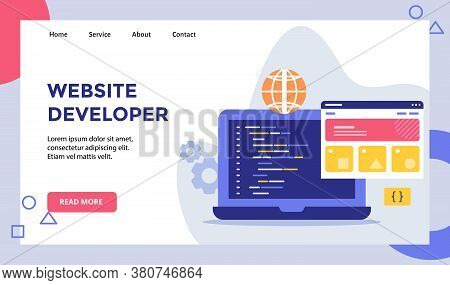 Website Developer Language Program Coding Campaign For Web Website Home Homepage Landing Page Templa