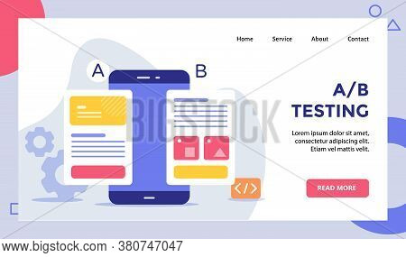 Ab Testing Wireframe On Smarphone Screen Campaign For Web Website Home Homepage Landing Page Templat
