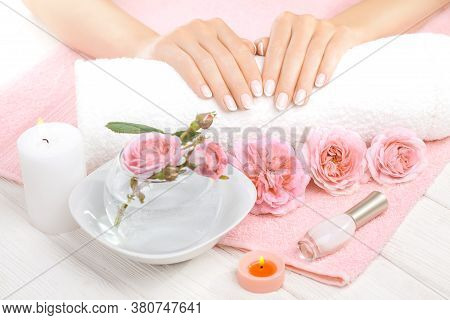 Beautiful Pink Manicure With Pink Roses, Manicure Set, On The White And Pink Towels